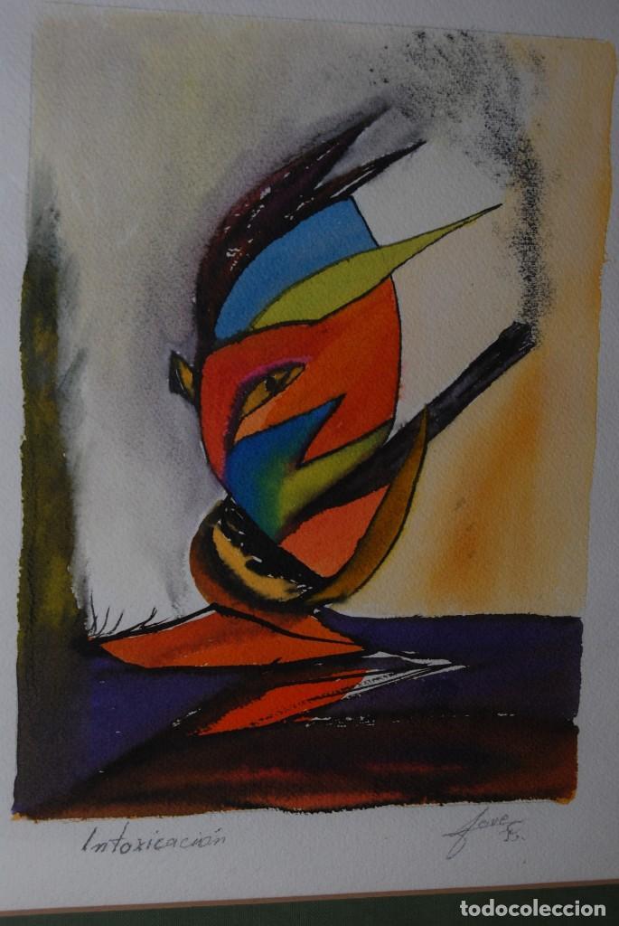 Arte: ACUARELA SOBRE PAPEL - JESÚS GUTIERREZ - INTOXICACIÓN - GRUPO CEBRA - BRUSELAS - AÑOS 80 - Foto 2 - 195260383
