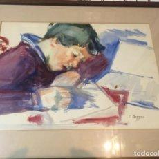 Arte: (M) SIMÓ BUSOM - ACURELA NIÑO FIRMADA S.BUSOM 75 ENMARCADA 59X45 CM. ACUARELA 45X32CM. . Lote 195261577