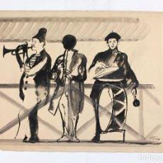 Arte: JOSEP MARIA PRIM, UNA CHARANGA MUY ALEGRE, ACUARELA SOBRE PAPEL, FIRMADO. 50X38CM. Lote 195280851