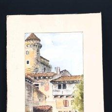 Arte: ACUARELA DE UNA VILLA FRANCESA - FIRMADO Y FECHADO 1914. Lote 195316316