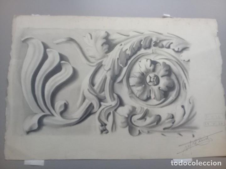 Arte: Dibujo lápiz y acuarela detalle modernista Melilla. Firmado y fechado 1934 - Foto 8 - 195360670