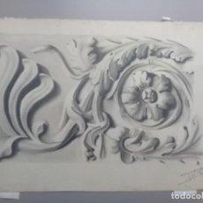 Arte: DIBUJO LÁPIZ Y ACUARELA DETALLE MODERNISTA MELILLA. FIRMADO Y FECHADO 1934. Lote 195360670