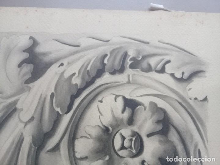 Arte: Dibujo lápiz y acuarela detalle modernista Melilla. Firmado y fechado 1934 - Foto 4 - 195360670