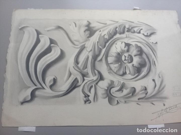 Arte: Dibujo lápiz y acuarela detalle modernista Melilla. Firmado y fechado 1934 - Foto 7 - 195360670