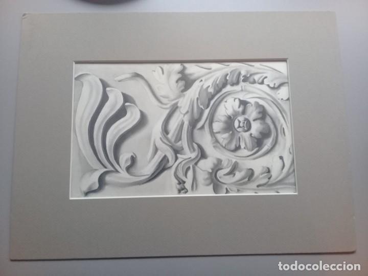 DIBUJO LÁPIZ Y ACUARELA DETALLE MODERNISTA MELILLA. FIRMADO Y FECHADO 1934 (Arte - Acuarelas - Contemporáneas siglo XX)