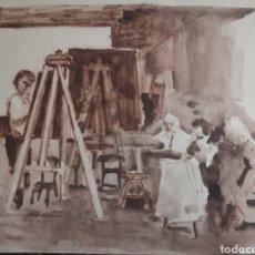 Arte: DIBUJO, AGUADA. EN EL ESTUDIO DEL PINTOR. SOBRE PAPEL 34X24CM. Lote 195367671