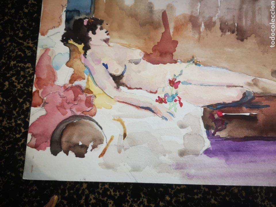 Arte: Desnudo femenino, acuarela 34x25cm primera mitad s. XX - Foto 3 - 195368131
