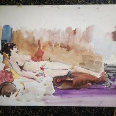 Arte: DESNUDO FEMENINO, ACUARELA 34X25CM PRIMERA MITAD S. XX. Lote 195368131