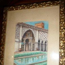 Arte: PALACIO MARROQUI. ACUARELA 16X11. C. 1950, FIRMA F.MARTINEZ TOTAL CON MARCO 28X22. Lote 195427706