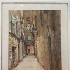 Arte: CALLE DE BARCELONA. ACUARELA SOBRE PAPEL. FIRMA ILEGIBLE. SIGLO XX. . Lote 195446437