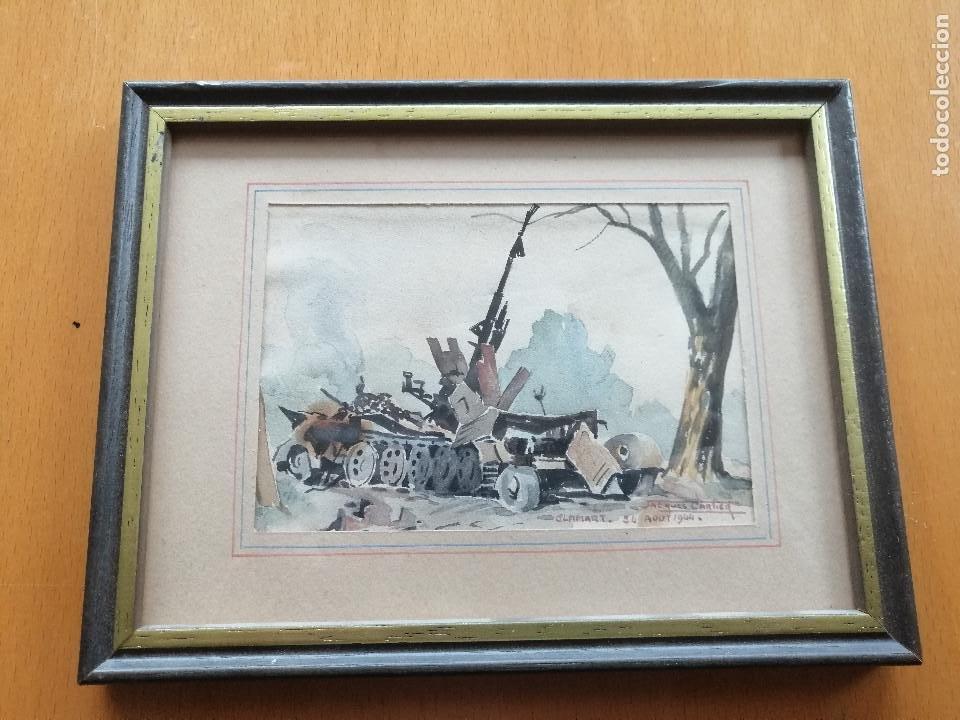 LIBERACIÓN DE PARIS 1944, WWII. ACUARELA, CARRO DE COMBATE EN CLAMART. JACQUES CARTIER. (Arte - Acuarelas - Contemporáneas siglo XX)