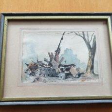 Arte: LIBERACIÓN DE PARIS 1944, WWII. ACUARELA, CARRO DE COMBATE EN CLAMART. JACQUES CARTIER.. Lote 195493887