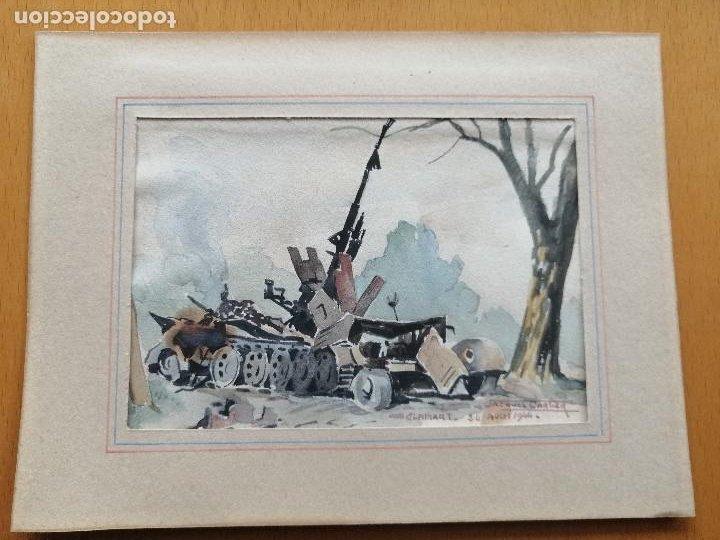 Arte: Liberación de Paris 1944, WWII. Acuarela, carro de combate en Clamart. Jacques Cartier. - Foto 2 - 195493887