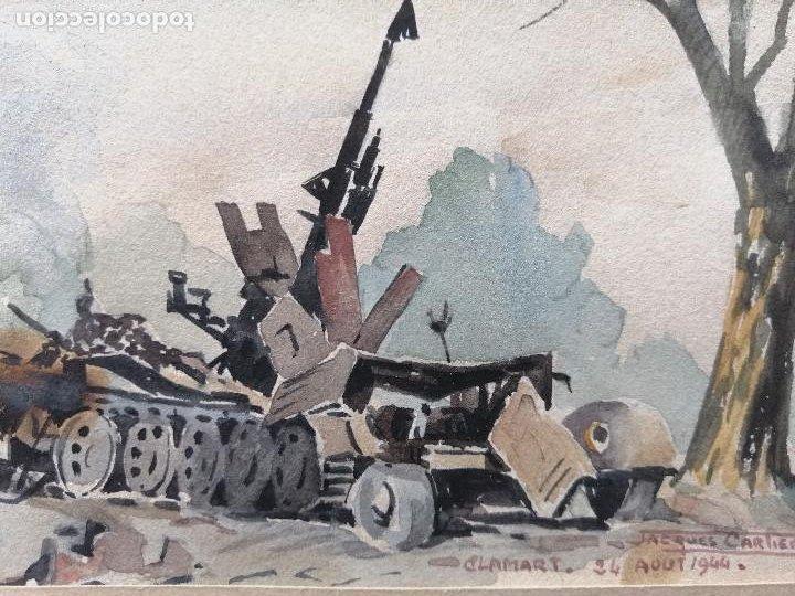 Arte: Liberación de Paris 1944, WWII. Acuarela, carro de combate en Clamart. Jacques Cartier. - Foto 3 - 195493887