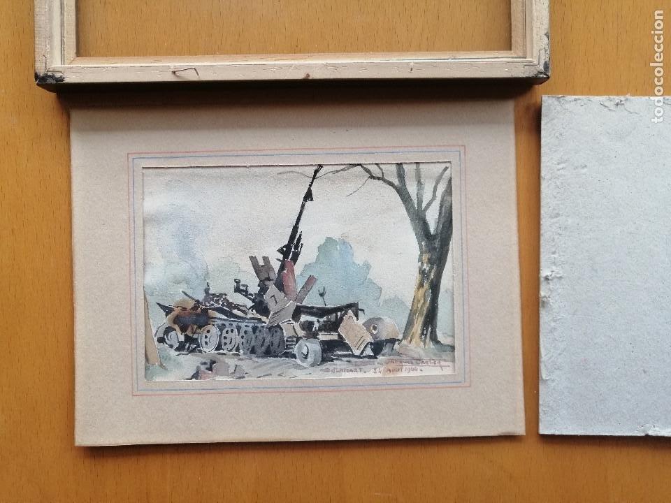 Arte: Liberación de Paris 1944, WWII. Acuarela, carro de combate en Clamart. Jacques Cartier. - Foto 6 - 195493887