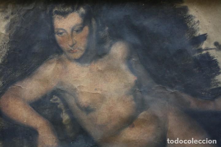 Arte: Josep Truco Prat, desnudo femenino, técnica mixta sobre papel, firmado, con marco. 109x74cm - Foto 2 - 195843970