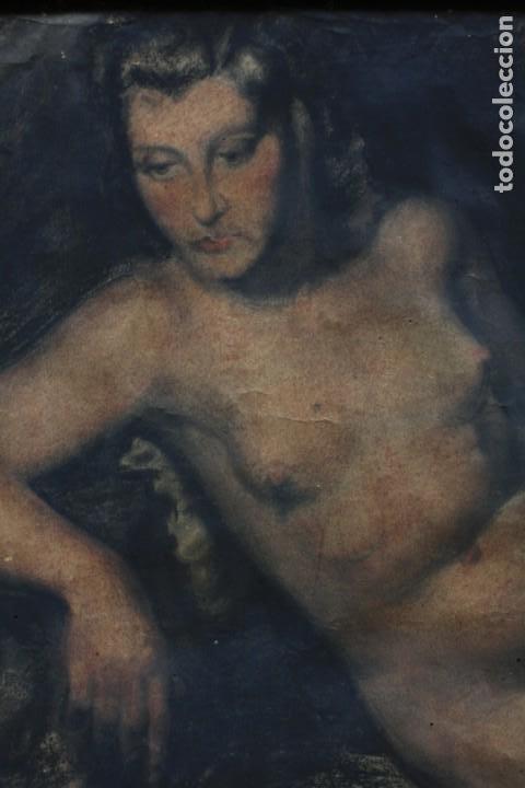 Arte: Josep Truco Prat, desnudo femenino, técnica mixta sobre papel, firmado, con marco. 109x74cm - Foto 3 - 195843970
