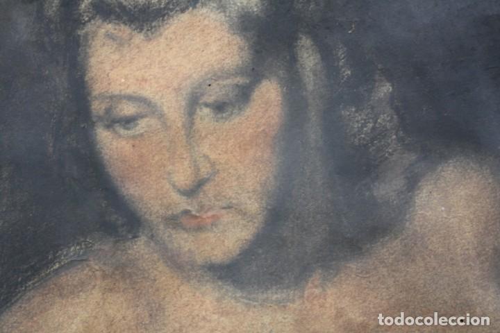 Arte: Josep Truco Prat, desnudo femenino, técnica mixta sobre papel, firmado, con marco. 109x74cm - Foto 4 - 195843970