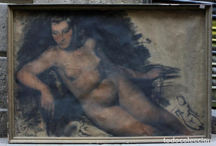 JOSEP TRUCO PRAT, DESNUDO FEMENINO, TÉCNICA MIXTA SOBRE PAPEL, FIRMADO, CON MARCO. 109X74CM (Arte - Acuarelas - Contemporáneas siglo XX)