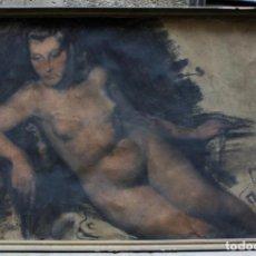 Arte: JOSEP TRUCO PRAT, DESNUDO FEMENINO, TÉCNICA MIXTA SOBRE PAPEL, FIRMADO, CON MARCO. 109X74CM. Lote 195843970