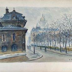 Arte: CALLE DE PARIS. ACUARELA SOBRE PAPEL. FIRMADO A. GUERIN. CIRCA 1940. . Lote 195958178