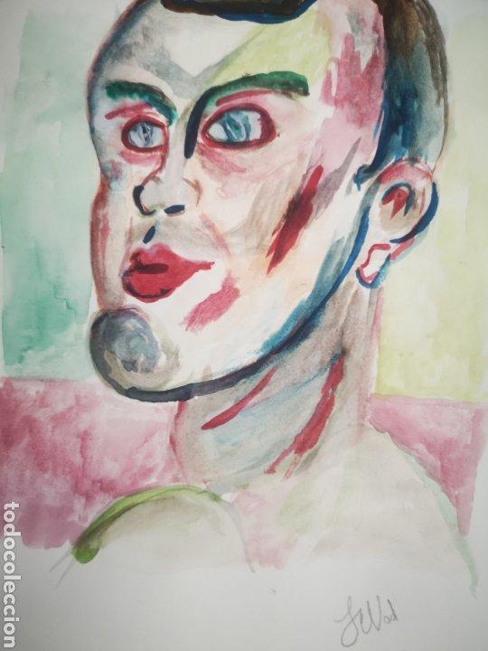 Arte: ACUARELA SOBRE PAPEL, RETRATO EXPRESIONISTA, FIRMADO. 22X30CM - Foto 2 - 195973895