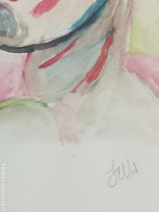 Arte: ACUARELA SOBRE PAPEL, RETRATO EXPRESIONISTA, FIRMADO. 22X30CM - Foto 3 - 195973895
