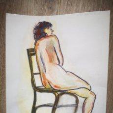 Arte: ACUARELA, DESNUDO FEMENINO, FIRMADO J. P. 23X27CM. Lote 195974690