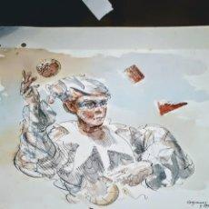 Arte: ARLEQUIN, ACUARELA. Lote 196056572