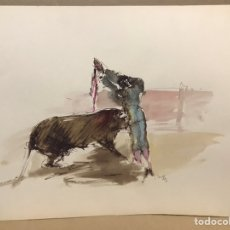 Art: TAUROMAQUIA BANDERILLAS, ACUARELA DE MONIQUE LANCELOT. Lote 196066343