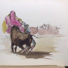 Art: PASES DE TOREO, ACUARELA DE MONIQUE LANCELOT. Lote 196067037
