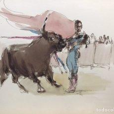 Art: PASES DE TOREO ACUARELA DE MONIQUE LANCELOT. Lote 196068150