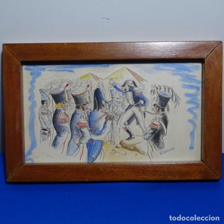 Arte: Acuarela firmada e. Novel.napoleon en egipto. - Foto 2 - 196318352