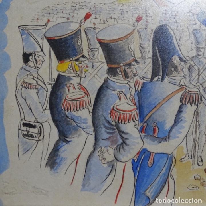 Arte: Acuarela firmada e. Novel.napoleon en egipto. - Foto 3 - 196318352