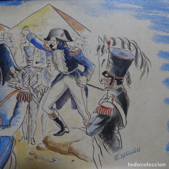 Arte: Acuarela firmada e. Novel.napoleon en egipto. - Foto 4 - 196318352