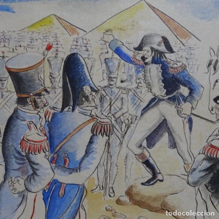 Arte: Acuarela firmada e. Novel.napoleon en egipto. - Foto 5 - 196318352