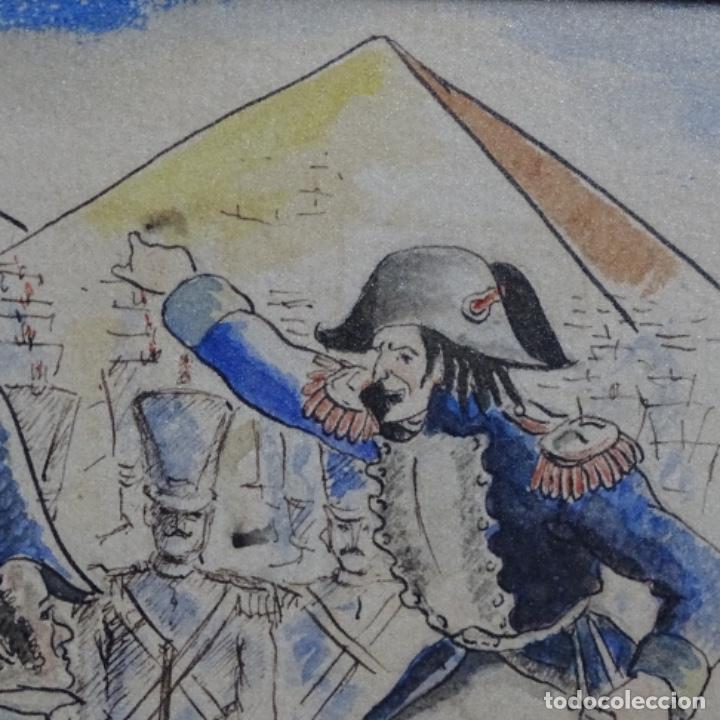 Arte: Acuarela firmada e. Novel.napoleon en egipto. - Foto 6 - 196318352