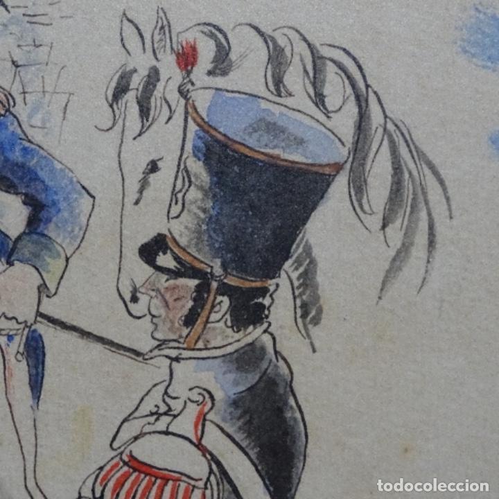 Arte: Acuarela firmada e. Novel.napoleon en egipto. - Foto 7 - 196318352