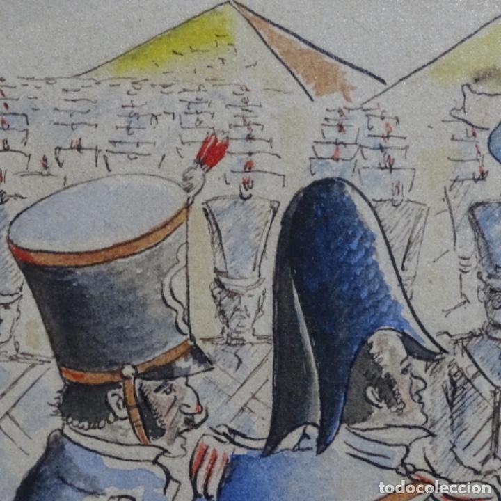 Arte: Acuarela firmada e. Novel.napoleon en egipto. - Foto 8 - 196318352