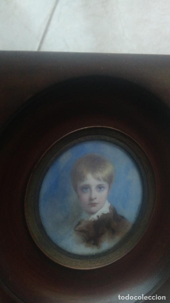 Arte: Miniatura retrato niño siglo XIX Lucienne Frison Fabrice - Foto 2 - 196369912