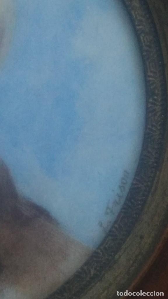 Arte: Miniatura retrato niño siglo XIX Lucienne Frison Fabrice - Foto 5 - 196369912
