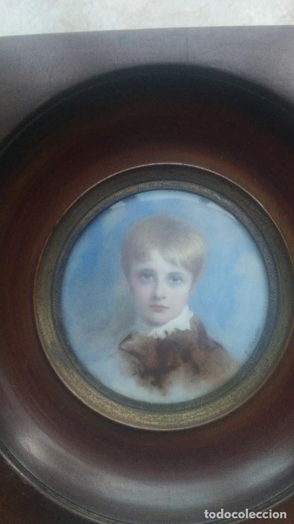 Arte: Miniatura retrato niño siglo XIX Lucienne Frison Fabrice - Foto 6 - 196369912