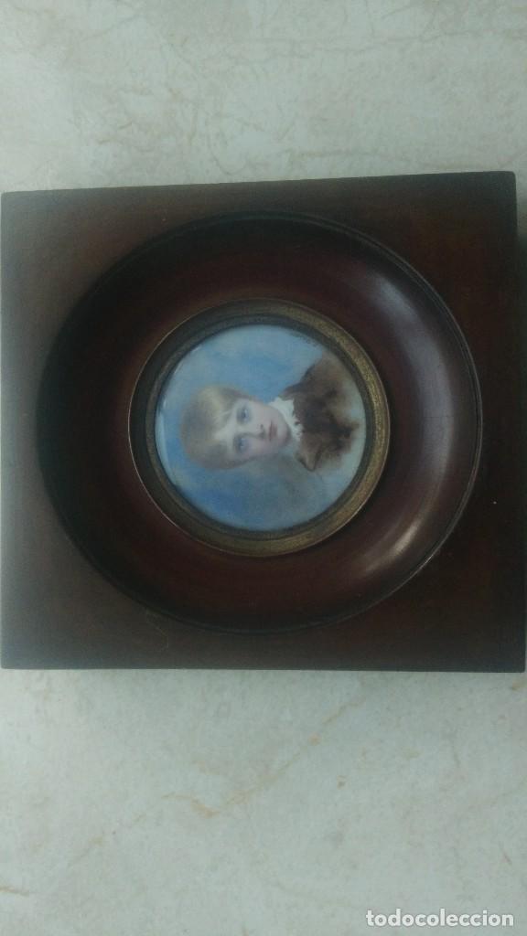 Arte: Miniatura retrato niño siglo XIX Lucienne Frison Fabrice - Foto 7 - 196369912