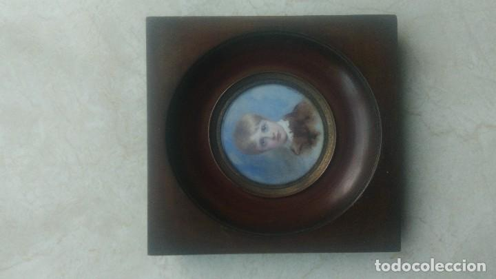 Arte: Miniatura retrato niño siglo XIX Lucienne Frison Fabrice - Foto 8 - 196369912