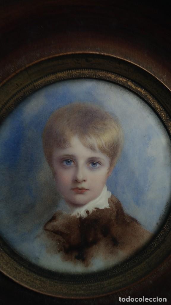 Arte: Miniatura retrato niño siglo XIX Lucienne Frison Fabrice - Foto 9 - 196369912