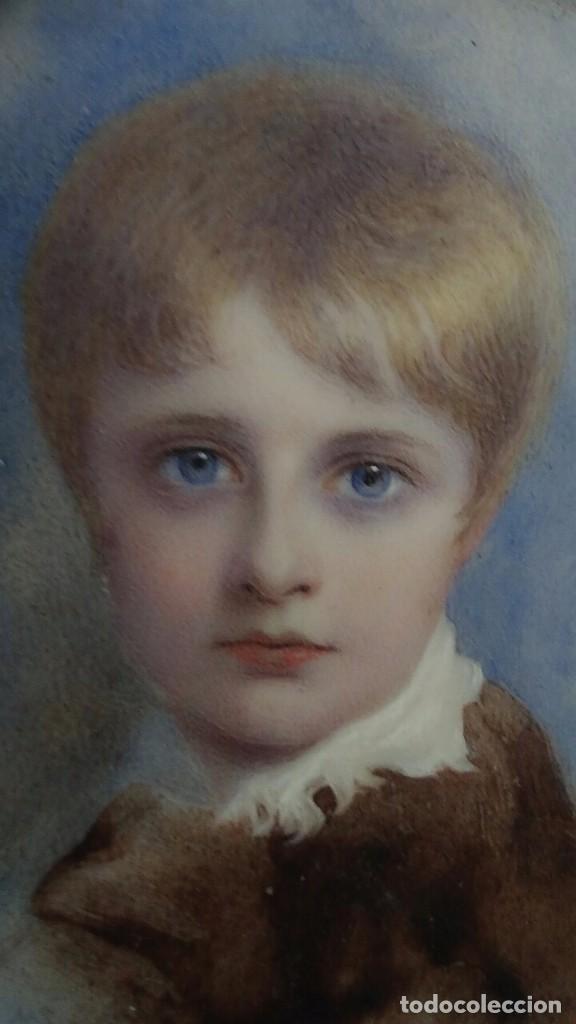 Arte: Miniatura retrato niño siglo XIX Lucienne Frison Fabrice - Foto 10 - 196369912