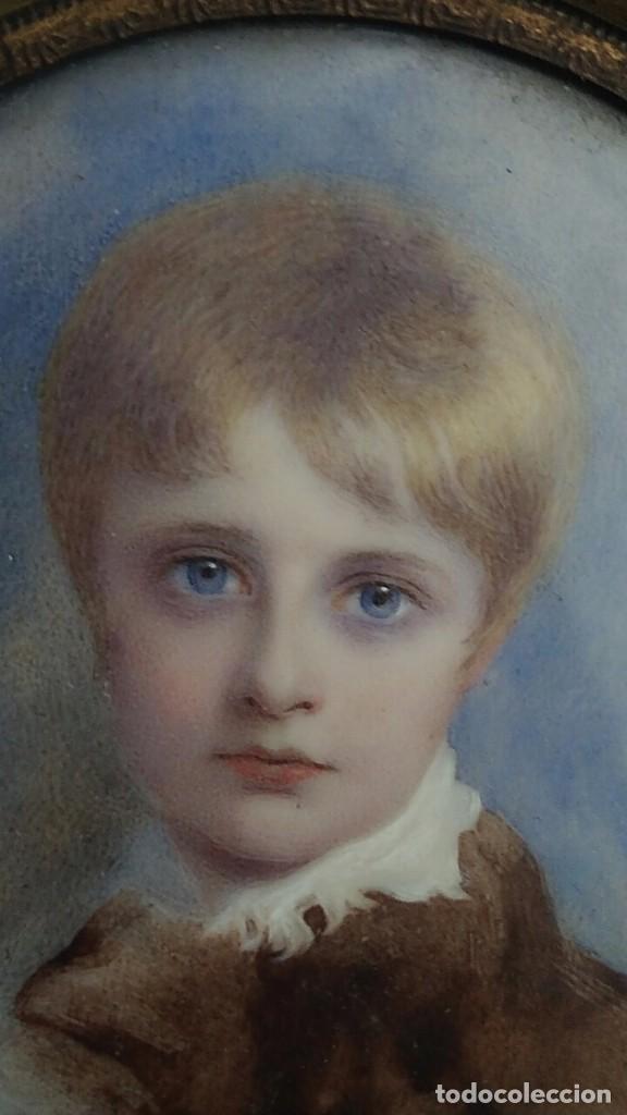 Arte: Miniatura retrato niño siglo XIX Lucienne Frison Fabrice - Foto 11 - 196369912
