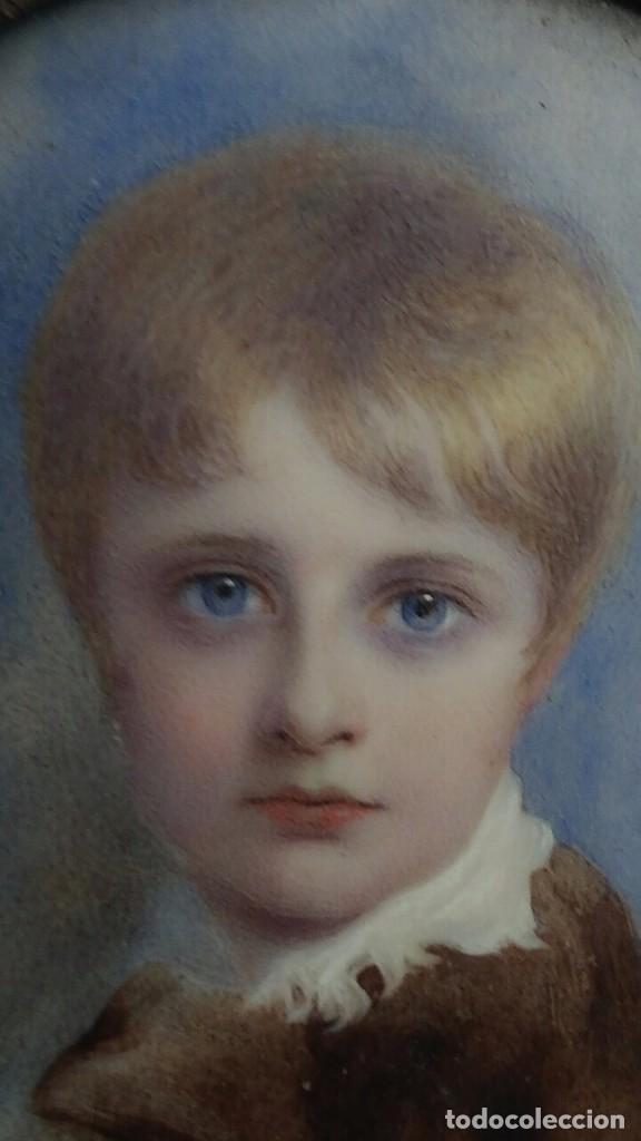 Arte: Miniatura retrato niño siglo XIX Lucienne Frison Fabrice - Foto 12 - 196369912