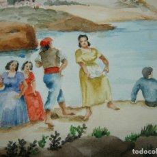 Arte: S. XIX ACUARELA COSTUMBRISTA ANÓNIMA - ESCUELA MALLORCA - 50 CM - BELLVER ?. Lote 196371366