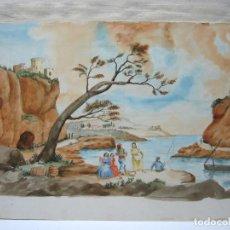 Arte: FANTASTICA ACUARELA COSTUMBRISTA ANONIMA - ESCUELA MALLORQUINA - 50 CM - BELVER ?. Lote 196371366